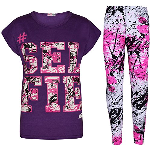 A2Z 4 Kids® Kinder Mädchen Top Love Aufdruck - Selfie Splash Set. Purple 11-12