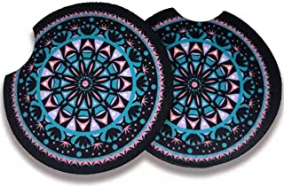 Car Coasters for Drinks Absorbent-2.75 Cute Car Accessories for Women,Cute Car Auto Interior Accessories,Cup Holder Coasters for Your Car with Fingertip Grip,Pack of 2(Dark Bule Mandala)