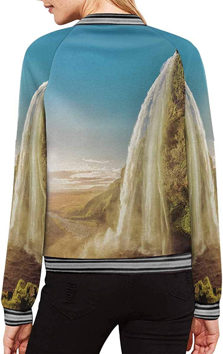 InterestPrint Women's Striped Tie Dyed Pattern Long Sleeves Zippered Pockets Jacket