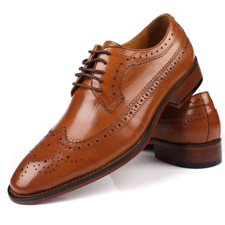 [F.shion] 革靴 ウイングチップ ビジネスシューズ メンズ レースアップシューズ 外羽根 ウォーキングシューズ 紳士靴 おしゃれ BJSZ08