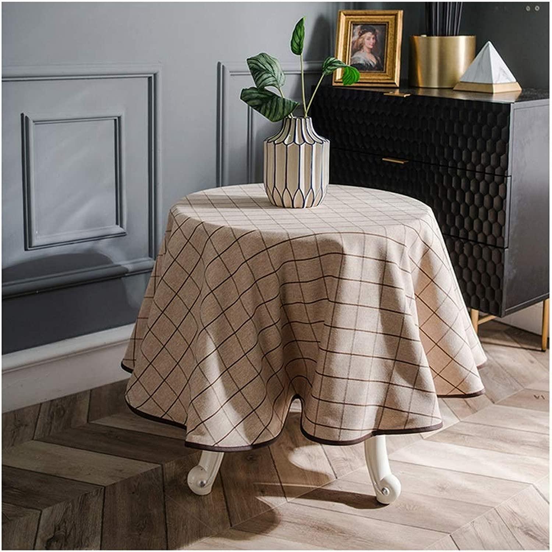 Tovaglia da tavola in Cotone Lavabile di Lino rossoonde - Ideali for Tavolo da Buffet, Feste, cene di Festa (Coloree   C, Dimensione   Round-160cm)