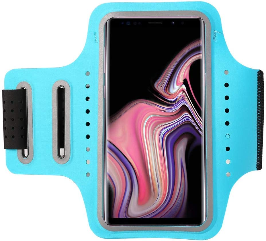 Premium Lycra Sports Running Armband Cellphone Arm Case with Card Holder Fingerprint Unlock for iPhone XR X 8 Plus 7 Plus Galaxy Note10 S10 S9 Plus A20, LG Stylo 4/3 V40 G8 G7 ThinQ Nokia 6 (Blue)