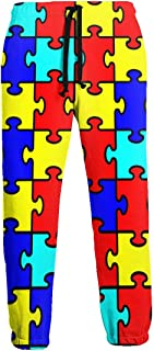 Cyloten Sweatpants Autism Awareness Puzzle Men's Trousers Durable Hip Hop Pants Sportswear with Pockets