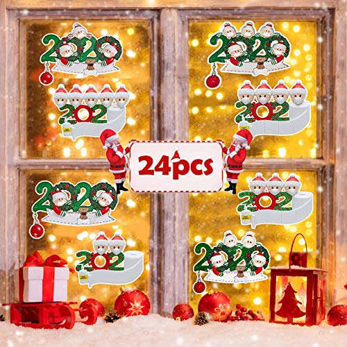AnNido Christmas Windows Clings Sticker - 24 Sheet Personalized Quarantine Survived Xmas Wall & Door Decals Stickers for Home Room Decor, Winter Party Decor Christmas Holiday Decorations