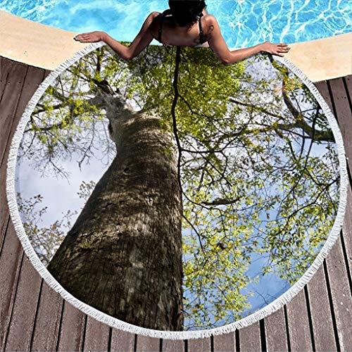 Wraill Toalla de playa redonda con diseño de cielo azul con luz solar y árbol verde, 150 cm
