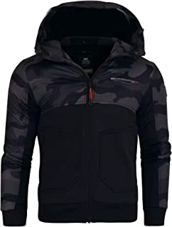 Crosshatch Mens Hooded Jacket Camo Camouflage Coat Hoodie Zipped Fleece Lined Wind Breaker Zip Pockets