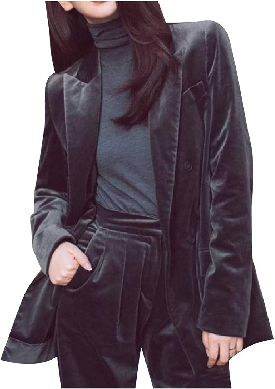 Coolhere Women Business Blazer Pleuche Double Button 2Piece Suits Set