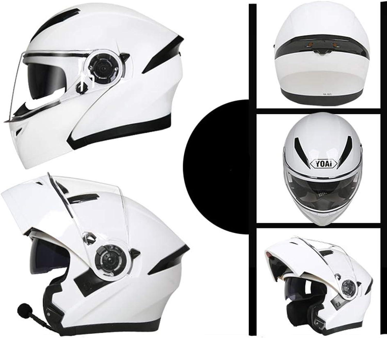 Lanbinxiang@ Handsome blueetooth Helmet Double Lens Electric Motorcycle Men and Women Four Seasons Universal Open Face Helmet Full Helmet Helmet  Multicolor  Personality Pattern  Large Predection