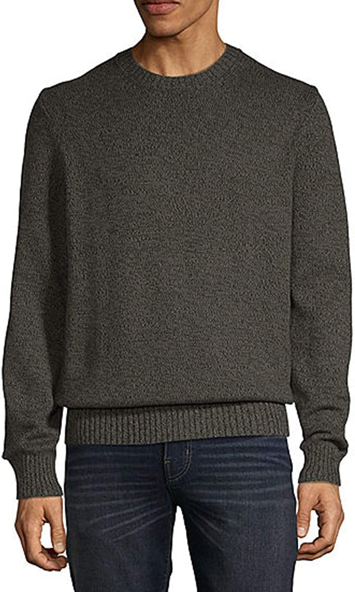 St. John's Bay Crew Neck Long Sleeve Pullover Sweater (Olive Marl, XX-Large)
