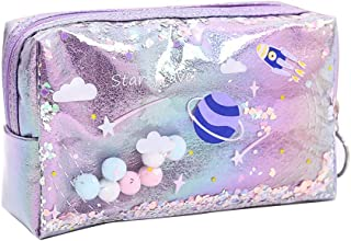Xuebai Mooie grote drijfzand planeet etui lederen pen doos make-up tas meisjes gift potlood tas paars