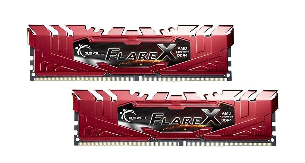 レッスン脅威右G.SKILL F4-2400C15D-32GFXR 32 GB(16 GB x 2)Flare XシリーズDDR4 2400 MHz PC4-19200 CL15デュアルチャンネルメモリキット - レッド