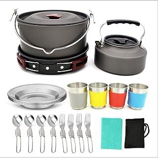 22Pcs Camping Cookware Mixing Kit, Large Hanging Pot Pot Pot with Base Cook Set, Cup And Fork Spoon Set Outdoor Camping Hi...