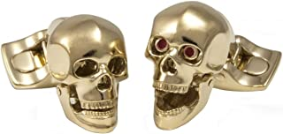 Moving Skull with Red Eyes Gold Plated Skull Cufflinks