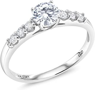 10K White Gold Solitaire w- Accent Stones Lab Grown Diamond Ring Forever Brilliant (GHI) Round 0.50ct (DEW) Created Moissanite by Charles & Colvard