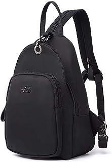 حقيبة ظهر للنساء، حقيبة كتف صغيرة خفيفة الوزن للسفر المدرسية من جلد البولي يوريثان مع حزام كتف قابل للطي