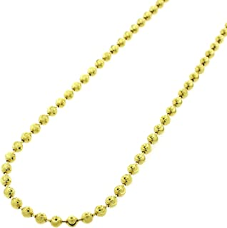 "Sterling Silver Italian Ball Bead Moon Cut Solid 925 Yellow Gold Beaded Necklace Chains 2MM 3MM 4MM 5MM 6MM, 16"" - 40"