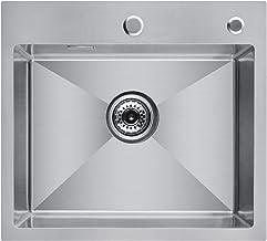 CECIPA Magni Inbouwspoelbak, 50 cm x 45 cm, roestvrij staal, vanaf 50 cm onderkast, inclusief zeepdispenser, over- en afvo...