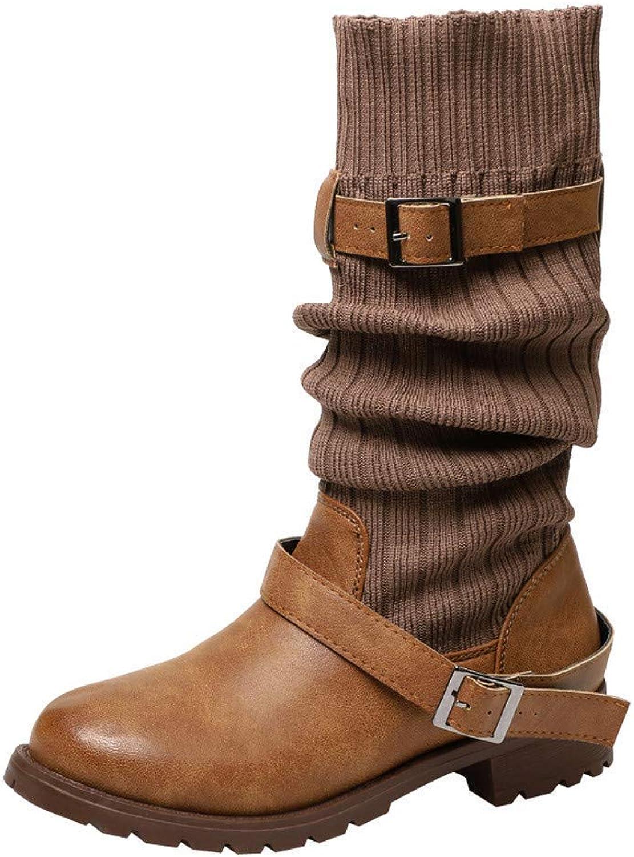ZHRUI Stiefel Damenschuhe Stiefeletten Mode Damen Warmhalten Schuhe Leder Stiefelies Schnalle Martin Stiefel Runde Kappe Schuhe (Farbe   Braun, Gre   37)