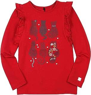 Deux par Deux Girls' T-Shirt Print in Red A Cat in a Hat, Sizes 5-12