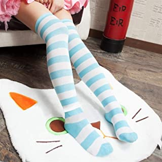 Anime Overknee Cosplay Stockings Meias Lolita Tights Thigh High Striped Stockings Blue and White Multicolor Sexy Self-Cultivation (Color : Green)