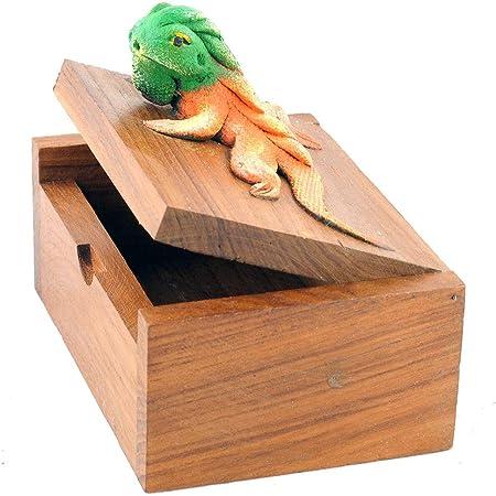/Ø ca. 8 cm Gedeko Holzdose Holzschachtel mit Deckel rund oval Teakholz braun