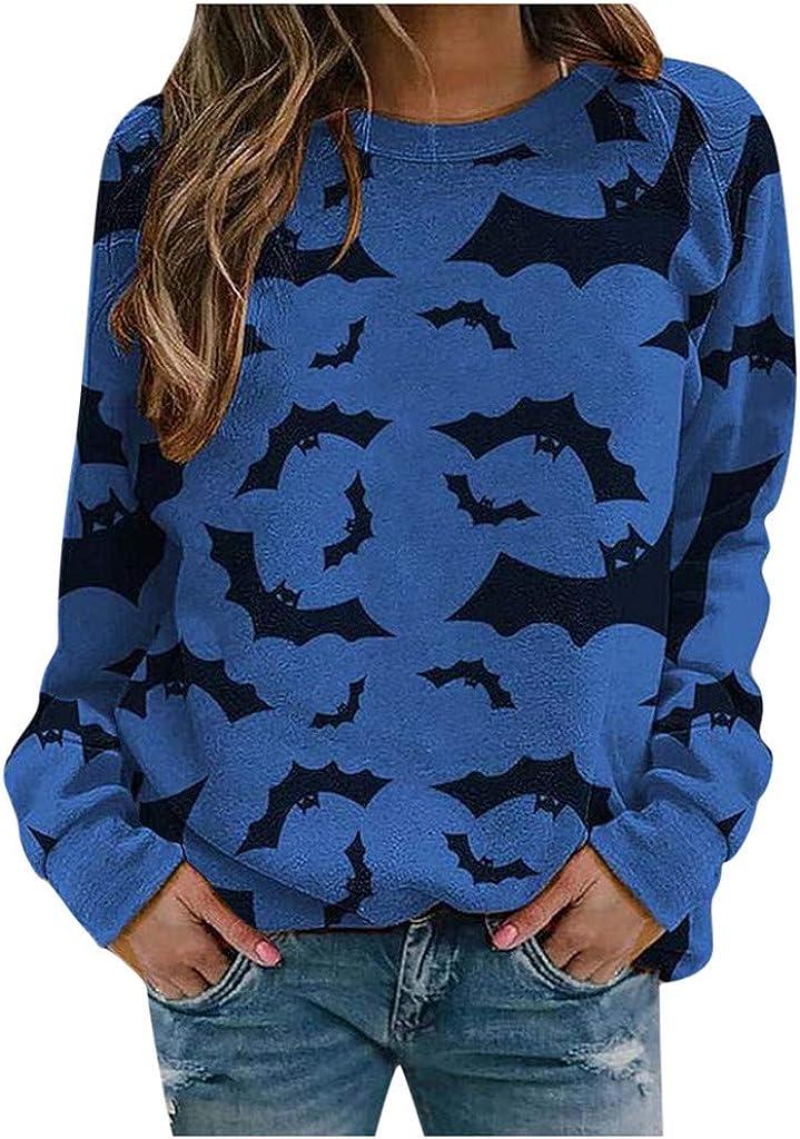 Workout Tops for Women,Halloween Print Crewneck T-Shirt Casual Long Sleeve Sweater Lightweight Blouses