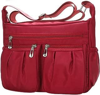 Clearance Sale Women Crossbody Bag Nylon, Fashion Solid [ Zipper Waterproof Shoulder Bag ] (Red)