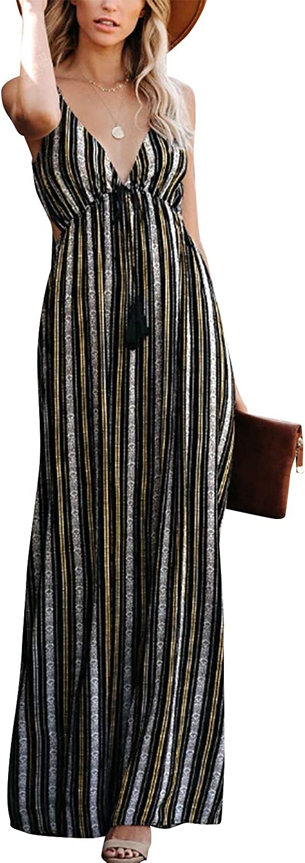 ZANZEA Womens Striped Maxi Dress Summer Floral Casual Sexy V Neck Spaghetti Strap Backless Tie Back Long Beach Sundress
