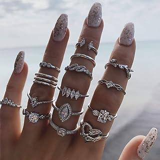 IYOU Juego de anillos de piedras preciosas vintage con cristales plateados, anillos apilables, bohemios, flores, lunas, an...