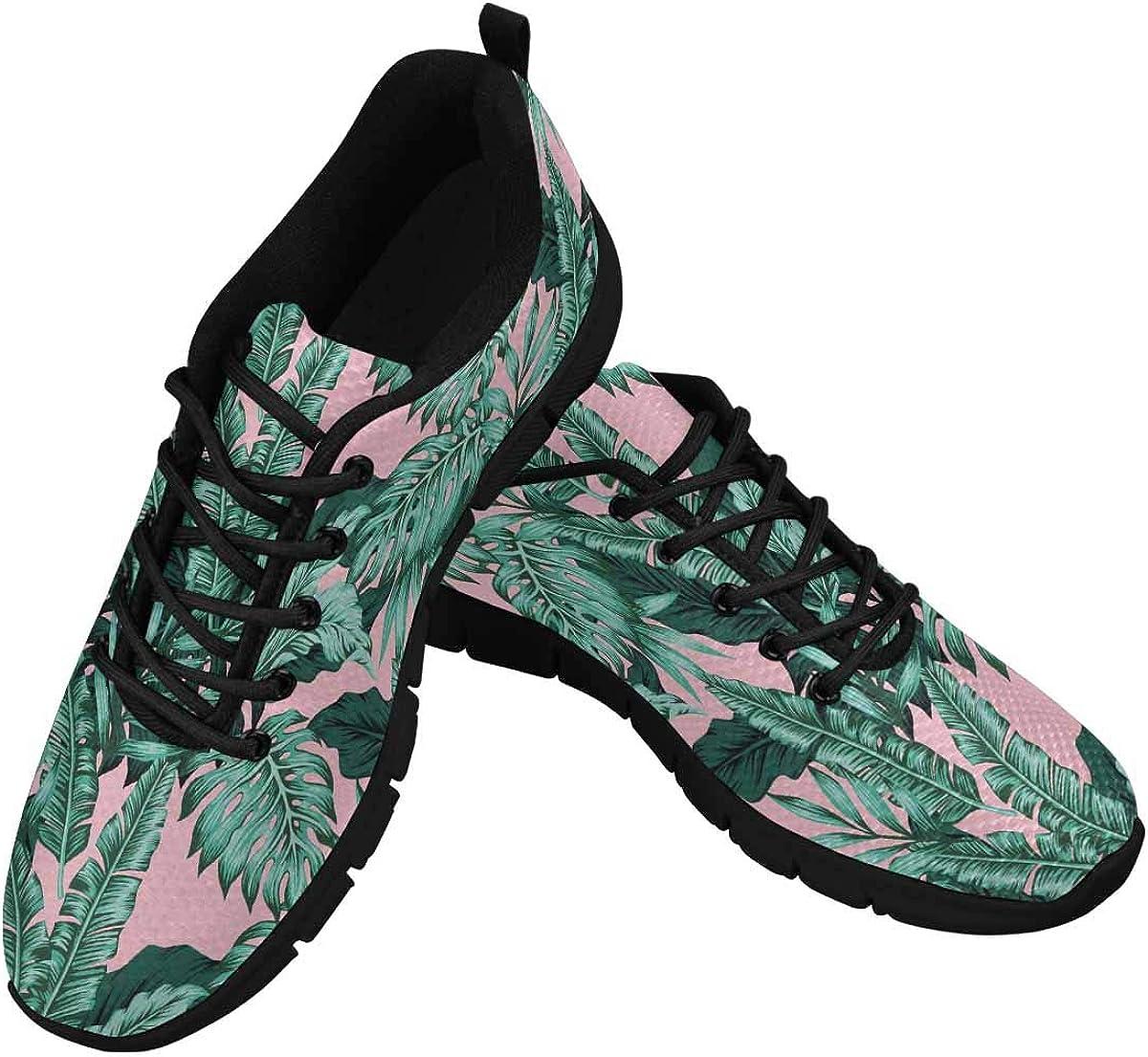 InterestPrint Tropical Leaves Women's Athletic Walking Shoes Comfort Mesh Non Slip