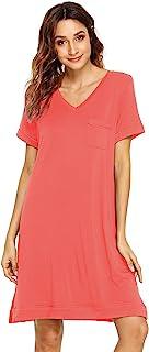 WiWi Womens Bamboo Nightgowns Short Sleeve Scoop Neck Sleepwear S-4XL
