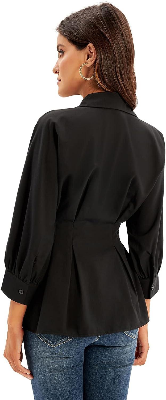 GRACE KARIN Women's Peplum Blouse Button Down Shirt Tops 3/4 Batwing Sleeve V Neck Slim Fit Shirtdress