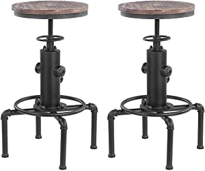IKAYAA Juego de 2 Taburetes de Bar Elegantes Sillas de Comedor Estilo Industrial Altura Ajustable