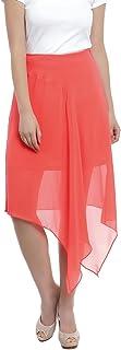 Zink London Women's Orange Solid Asymetric Skirt (X-Small)