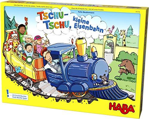 Haba 303736 - Tschu-tschu, kleine Eisenbahn | Brettspiel mit großem Puzzle-Spielplan, Würfel, Eisenbahn, 24 Fahrgast-Plättchen, 3 Weichen und 4 Haltestellen | Spielzeug ab 3 Jahren
