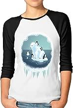 DonSir Penguins and Polar Bear Women Baseball Raglan Tee Black