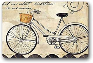 ZMvise Rubber Novelty Design Custom Bicycle Indoor Outdoor Doormat Washable Floor Bath Decor Mats Rug 18 x 30 inch