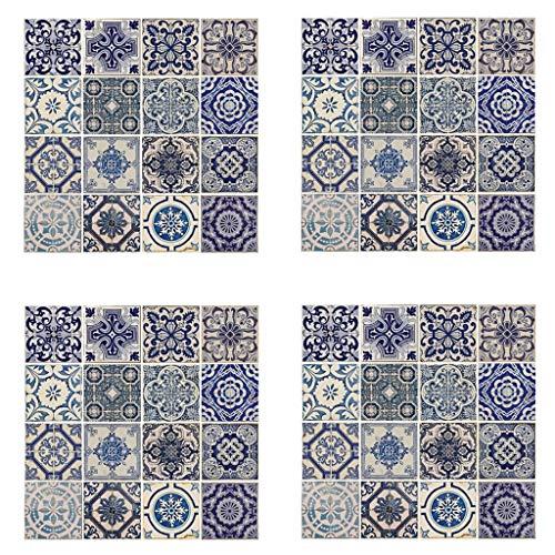 Wallflexi Pared Pegatinas Español Azul Azulejos Adhesivo extraíble de Pared Arte murales Adhesivos Oficina Decoración del hogar, Multicolor, Pack de 4