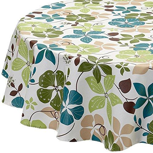 Fleur de Soleil N160ROECAPV Nappe ronde Coton enduit Vert/Bleu/Blanc 160 cm