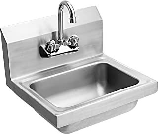 Giantex Commercial Stainless Steel Hand Washing Sink with Wall Mount Faucet Kitchen Heavy Duty Hot & Cold Temperature Water Inlet Washing Basin, Silver