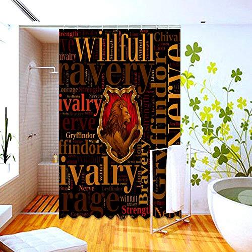 gwregdfbcv Harry Potter Rasgos de Gryffindor Cortina de Ducha Personalizada Cortina de...