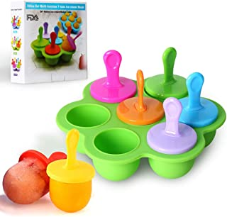 Mini Silicone Popsicle Mold, 7-cavity DIY Ice Pop Mold with Colorful Plastic Sticks, Popsicle Makers for Egg Bites, Lollipop and Ice Cream Mould, Baby Food Storage Container, Non-Stick Ice Cube Trays