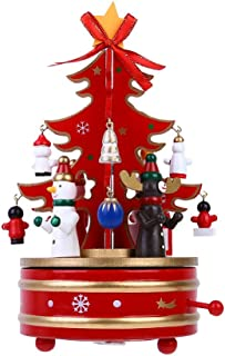 Sixpi Merry-go-Round Music Boxes Decoration Gifts Wooden Christmas Tree Xmas Toy Gift, Intelligence Toys Cute Toy Gifts for Girls & Boys