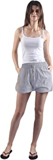 Gemmy Days (16183STF Womens Cotton 100% Half Pants Shorts Casual wear/Yarn Dyed. Size Free. Waist from 28 to 38 inches. Choice of Blue Stripe and/or Grey Stripe.