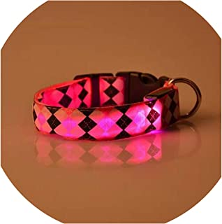 Love-pink Nylon Dog Collar Flash Night Safety LED Glow Dog Harness Pet Supplies Cat Collars Accessories