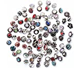 senior 10pcs mixed rhinestone snaps ginger chunk press buttons 12mm for snap jewelry making by