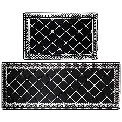 HEBE Anti Fatigue Kitchen Rug Sets 2 Pieces Thick Cushioned Kitchen Floor Mats Set Heavy Duty...