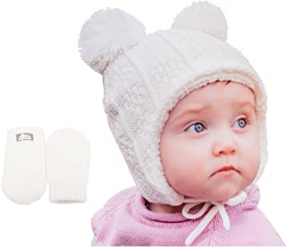 Baby Toddler Fleece Lined Winter Earflap Beanie Cream Bear Hat, Knit Mittens or Hat & Mittens Set