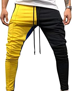 RkBaoye Men Cotton Hip Hop Drawstring Contrast Relaxed Tracksuit Bottoms