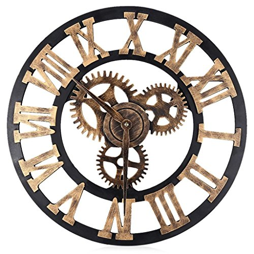 LQ-wall clock Relojes de Pared 3D Gear Reloj de Pared de Madera Relojes de Pared Digitales de la Vendimia Relojes de época Estilo Romano Circular de Gran Tamaño, Golden Rome 80cm